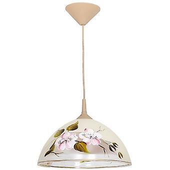 Braelyn Suspension Lampe Couleur Crème, Brown Plastic, Verre, L30xP30xA70 cm