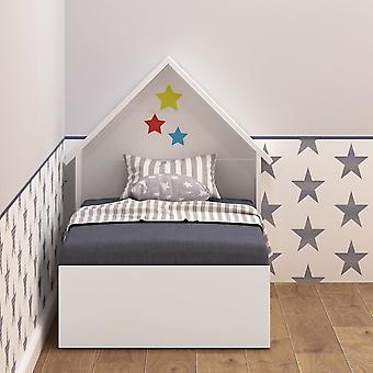 Letto Procon Montessori Colore Bianco in Truciolare Melaminico, Letto L65xP122xA25 cm, Testiera Letto L65xP15xA85 cm
