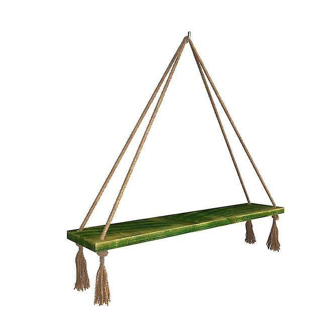 Mensola Halatli Colore Verde, Ecru in Legno, Juta, L50xP15xA25 cm