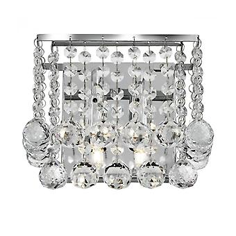Hanna 2-light Square Wall Sconce, In Chrome And Crystal