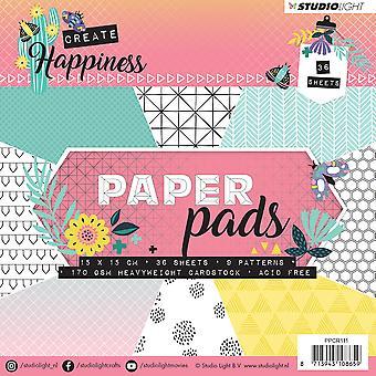 "Studio Light Paper Pad 6""X6"" 36/Pkg-Create Happiness, 9 Designs/4 Each"