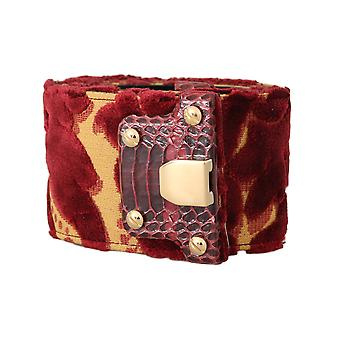 Dolce & Gabbana Red Gold Velvet Leather Gold Buckle Belt