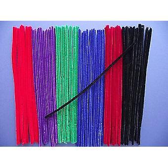 100 Jewel Färg 6mm Piprengöringsmedel | Chenille stjälkar