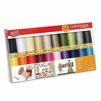 Gutermann 100% Natural Cotton Thread Set 100m Hand and Machine 20 Assorted Reels