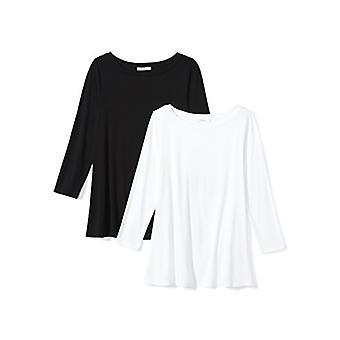 Marka - Daily Ritual Women&s Jersey 3/4-sleeve Bateau-Neck Swing T-Shirt, Czarny/Biały, X-Small