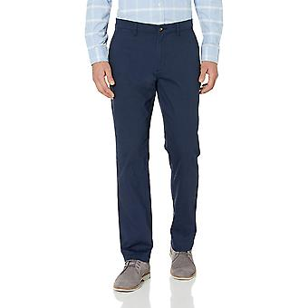 Essentials Men's Straight-Fit Casual Stretch Khaki, Marine, 32W x 30L