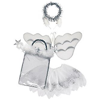 Engel Set Kinder 4tlg Haarreif Flügel Rock Stab Kinderkostüm