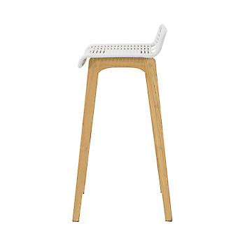 SoBuy FST76-W, Kitchen Breakfast Barstool, Bar Stool con PP Seat & Oak Wood Legs
