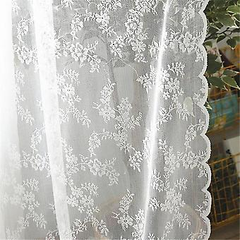 European White Lace Window Tulle Decorative Curtain