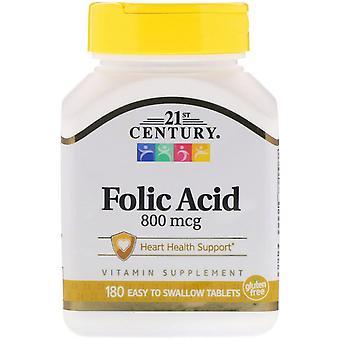 21st Century, Acide Folique, 800 mcg, 180 comprimés faciles à avaler