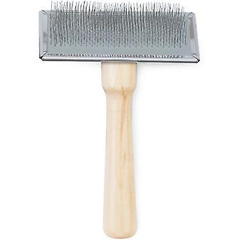 Ancol Heritage Wood Handle Soft Slicker Brush - Medium