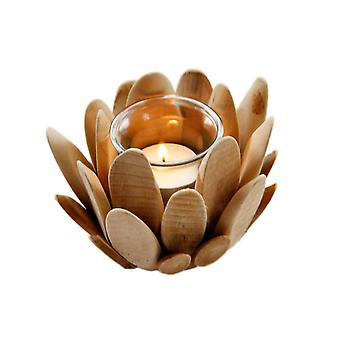 Wooden Lotus Petal Blossom Incense Candle Holder
