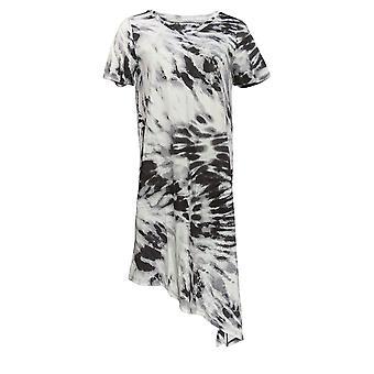 Cuddl Duds Dress Printed Tie-Dye V-Neck Tee Black A373524