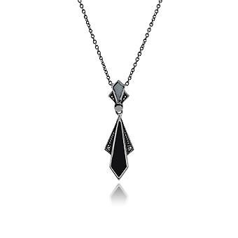 Art Deco Style Diamond Black Onyx, Mother of Pearl & Marcasite Necklace in 925 Sterling Silver 214N657301925