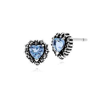 Classic Heart Blue Topaz & Marcasite Halo Heart Stud Earrings in 925 Sterling Silver 214E725704925