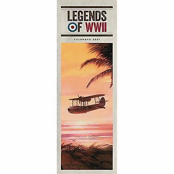 Otter House 2021 Slim Calendar - Legends Of Wwii