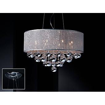 8 Light Crystal Ceiling Pendant Cylindrical Mesh Polished chrome, G9