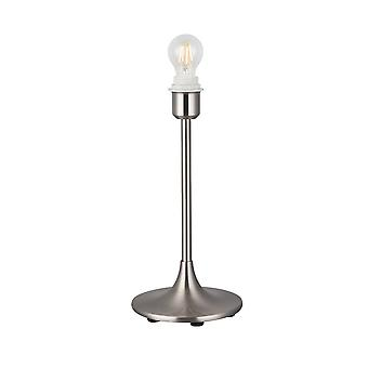 Inspired Deco - Crowne - Round Curved Base Table Lamp without Shade, Inline Switch, 1 Light E27 Satin Nickel