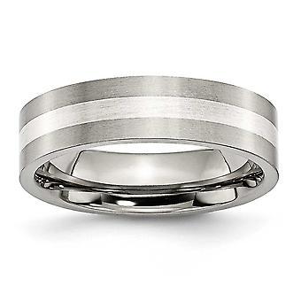 Titan 925 Sterling Silber gebürstet flache Band gravierbare Inlay 6mm Satin Band Ring - Ring Größe: 6 bis 13