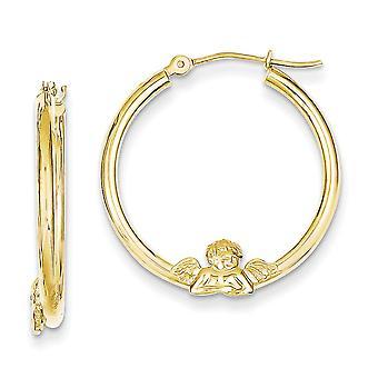 10k gul guld hule poleret hængslet post Angel HOOP øreringe - 1,4 gram