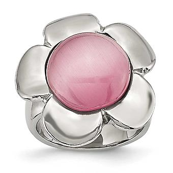 Stainless Steel Polished Pink Cats Eye Flower Ring Jewelry Gifts for Women - Ring Size: 6 to 8