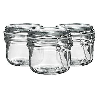 Argon Tableware Glass Storage Jars with Airtight Clip Lid - 125ml Set - White Seal - Pack of 3