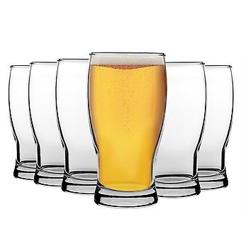 LAV 12 Piece Belek Tulip Pint Beer Glass Set - Large Classic Style Bulb Shape Craft Beer Ale Glasses - Clear - 580ml