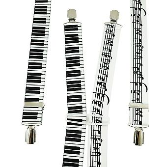 Ties Planet Music Notes & Piano Keyboard Men's Trouser Braces