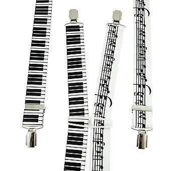 Krawatten Planet Musik Notizen & Klavier Keyboard Men's Hosenträger