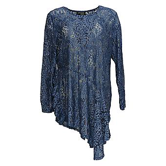 Women with Control Women's Top Ruffle Lace Tunic and Tank Blue A350623