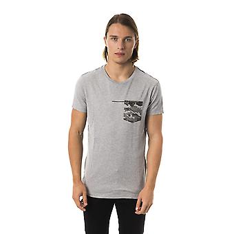 BYBLOS Grigio Grey Camo Front Pocket T-shirt