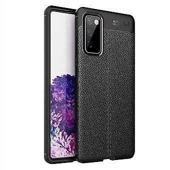 Samsung Galaxy S20 FE TPU Shell Litchi Textuur - Zwart