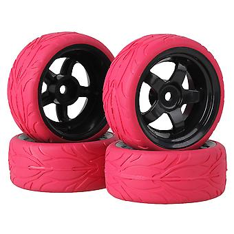 4x Red Fish Scale Rubber Tyre Black5 Spoke Wheel Rim for RC1:10 On Road