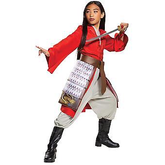 Dziewczyna & apos;s Mulan Hero Czerwony Strój Deluxe Kostium