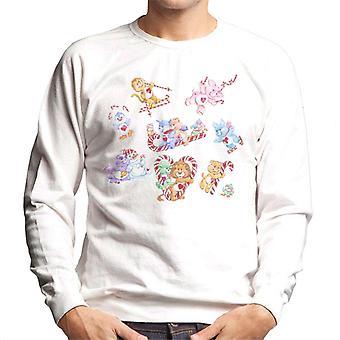 Care Bears Christmas Candy Cane Montage Men's Sweatshirt