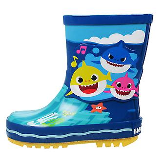 Boys Blue Aqua Pinkfong Baby Shark Slip Rezistente Wellies