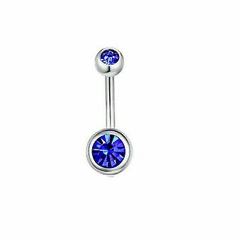 Double jewel belly button rings stainless steel surgical steel 16ga - 3 pack
