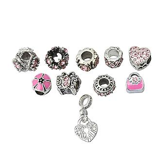 10Pcs Alloy Pink Inlaid Bead Loose Bead for Jewelry Bracelet Artisanat