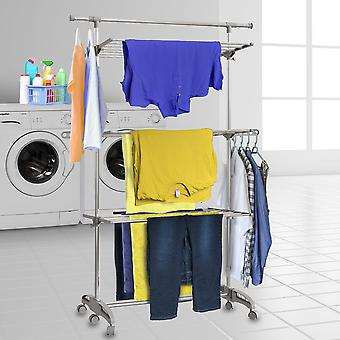 Hyfive clothes airer drying rack rail extra-large 3 tier with extendable top rail stainless steel folds flat for easy storage