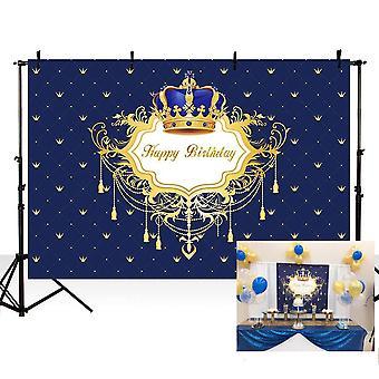 Mehofoto foto pozadí modrý malý princ chlapec šťastný narozeniny královská oslava kulisy pro phot