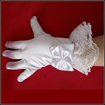 1pair White Lace Satin Full Finger Short Gloves