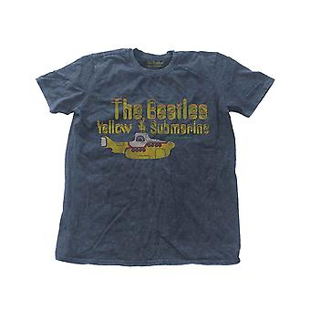 The Beatles T Shirt Yellow Submarine Band Logo Official Mens New Blue Snow Wash (en anglais)