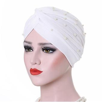 Plis solides Pearl Muslim Turban Scarf