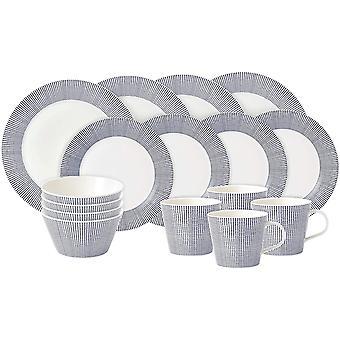 Royal Doulton Pacific 40009464, 16pc Dinnerware Set, Blue Dot, Porcelain