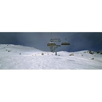 Ski lift over a polar landscape Lech ski area Austria Poster Print