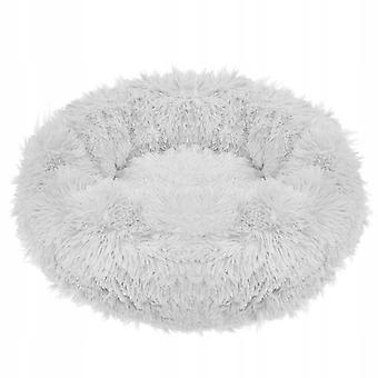 Hund kurv runde - 70 cm - Lysegrå Polyester Plys