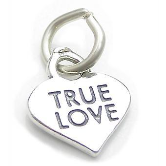 True Love Heart Sterling Silver Charm .925 X 1 Kärleksfull Bröllopscharm - 4107