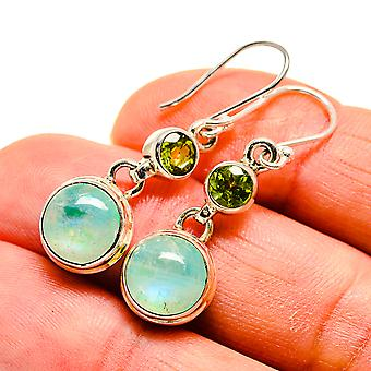 "Green Moonstone, Peridot Earrings 1 1/2"" (925 Sterling Silver)  - Handmade Boho Vintage Jewelry EARR410652"