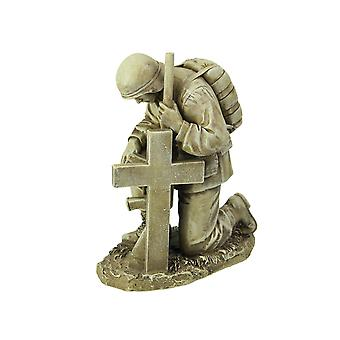 Antique White Finished Praying Soldier at Grave Military Memorial Statue