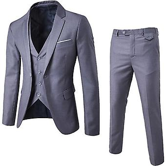 Fashion Mens Jacket /vest/trouser Business Dress Slim Casual Office Suit